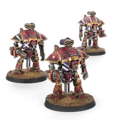 Adeptus Titanicus - Questoris Knights avec gantelets Thunderstrike et nacelles de roquettes
